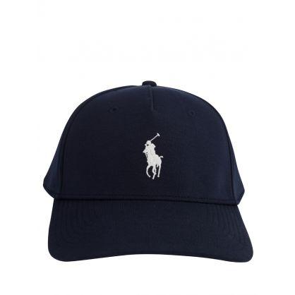 Navy Knit Pony Cap