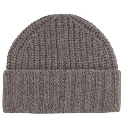 Grey Chunky Rib Skiing Bear Beanie Hat