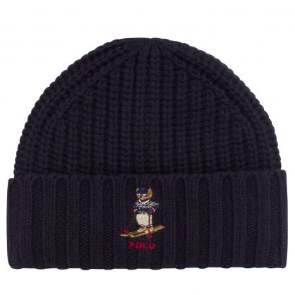 Navy Chunky Rib Skiing Bear Beanie Hat