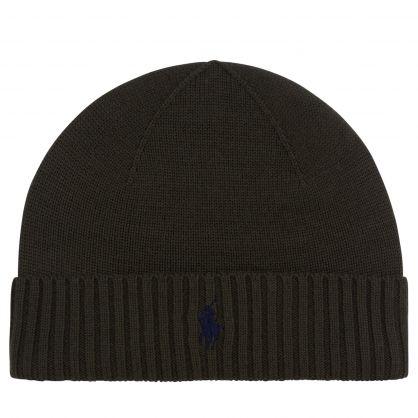 Dark Green Wool Beanie Hat