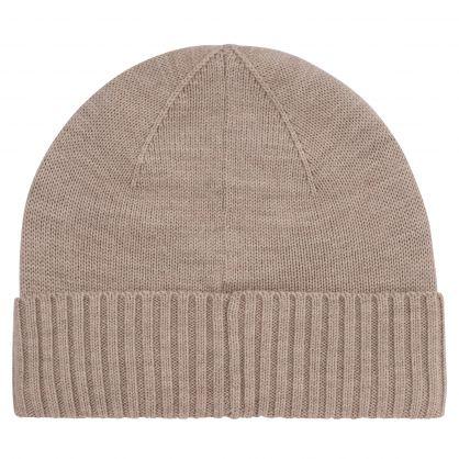 Beige Merino Wool Beanie Hat