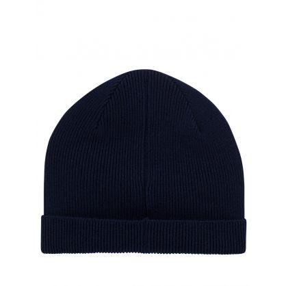 Navy Zebra Beanie Hat