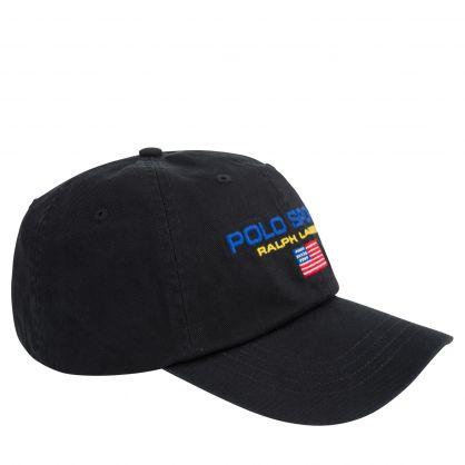 Black Cotton Twill Logo Cap