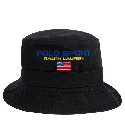 Black Cotton Twill Logo Bucket Hat