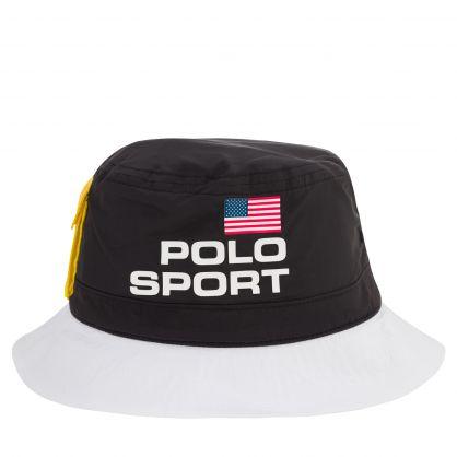 Black/White Nylon Logo Bucket Hat