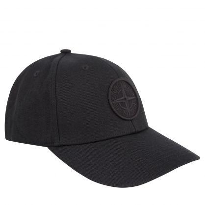 Black Embroidered Compass Logo Cap