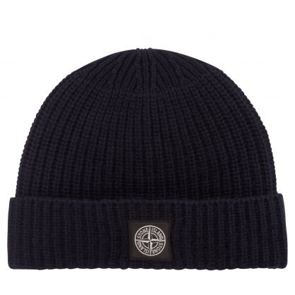 Navy Blue Wool Compass Logo Beanie Hat