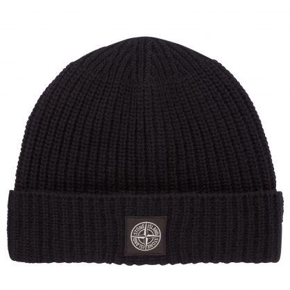 Black Compass Patch Beanie Hat