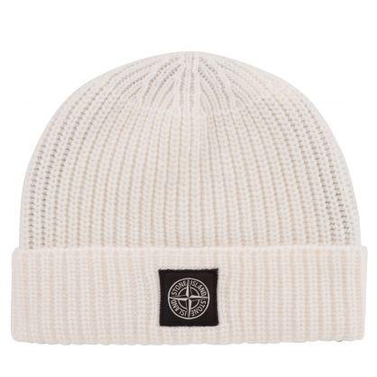 White Geelong Wool Beanie Hat