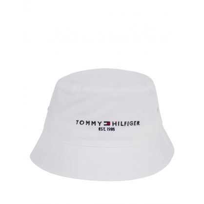 White Established Logo Bucket Hat