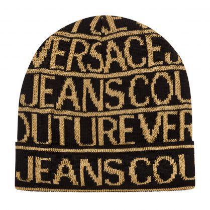 Black/Gold Logo Pattern Wool-Blend Beanie Hat