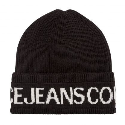 Black Wool-Blend Logo Beanie Hat