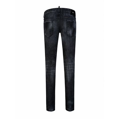 Black Slim-Fit Distressed Jeans