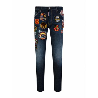 Blue Patchwork Straight-Leg Cool Guy Jeans