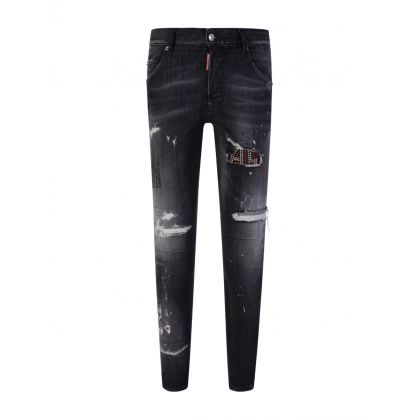 Black Trash Wash Skater Jeans