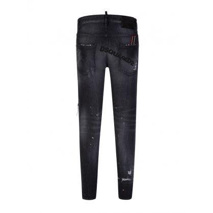 Black Trash Wash Skater Jeans