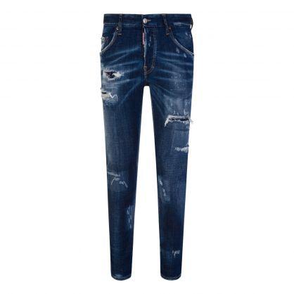Dark Blue Ripped Skater Jeans