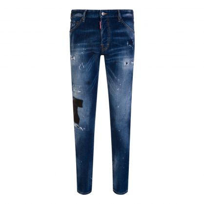 Dark Leather Patches Cool Guy Blue Jeans
