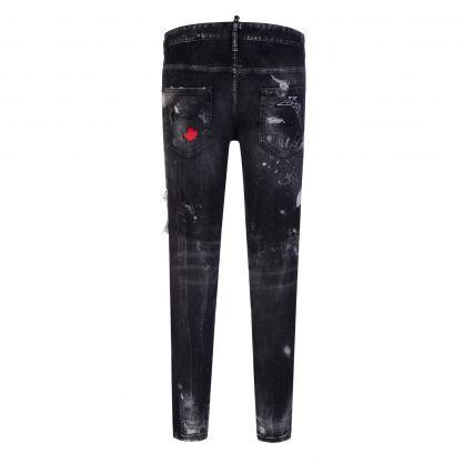 Black Mess Wash Skater Jeans