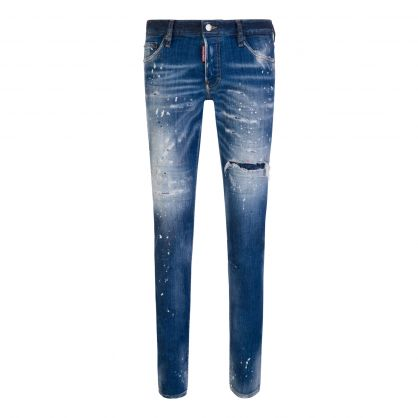 Blue Paint Splatter Slim Jeans
