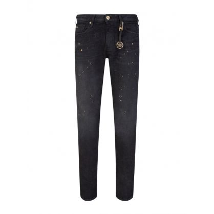Black J06 Slim Fit Gold Spot Jeans