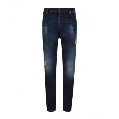 Navy Loose Tapered-Fit J09 Rip Paint Jeans
