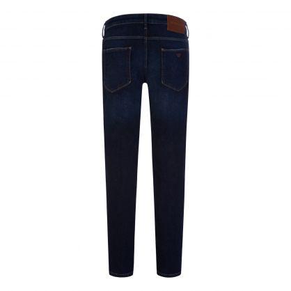 Navy Slim-Fit J06 Sandblasted Denim Jeans