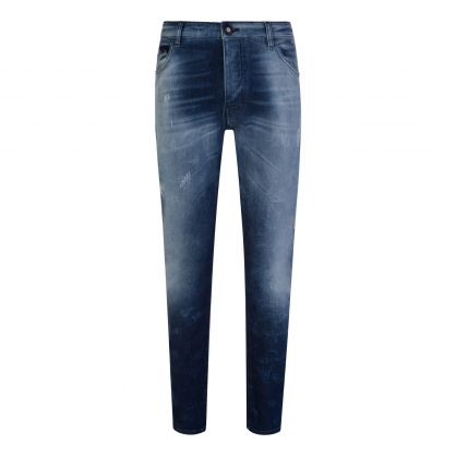 Blue J09 Slim Fit Ripped Jeans