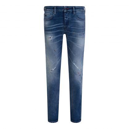 Blue Slim-Fit J75 Worn-Wash Denim Rips & Splatters Jeans