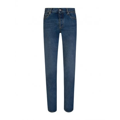 Blue Straight Fit 5 Pocket Jeans