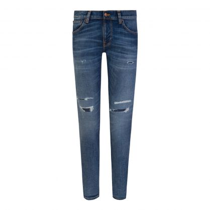 Blue Tight Terry Distressed Skinny Fit Jeans