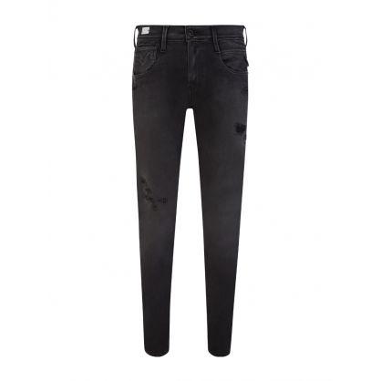 Black Anbass Hyperflex+ Broken & Repair Jeans