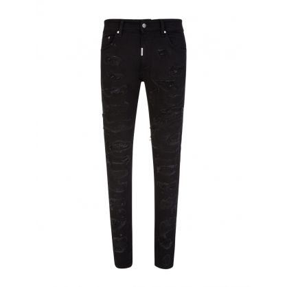Black Skinny-Fit Shredded Denim Jeans