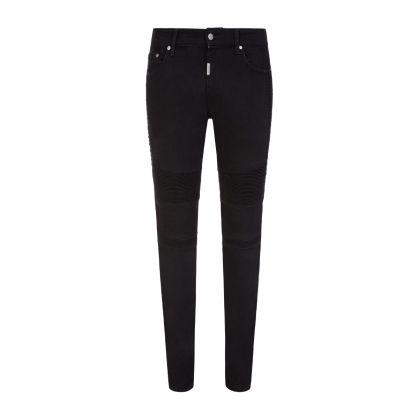 Black Skinny-Fit Biker Denim Jeans