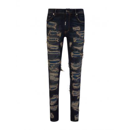 Navy Skinny-Fit Shredded Denim Jeans