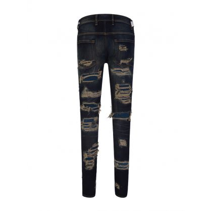 Navy Skinny-Fit Shredded Denim Jeans