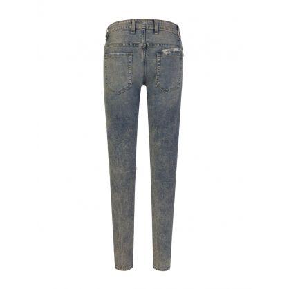 Blue Skinny-Fit Underwork Tartan Flannel Denim Jeans