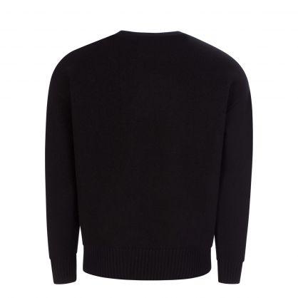 AMI Black Oversized-Fit Virgin Wool Knitted Sweatshirt
