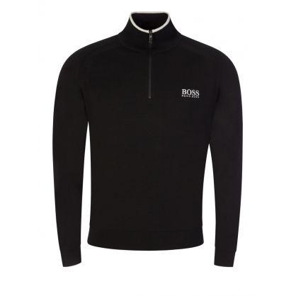 Black Zenno Knitted 1/4 Zip Jumper