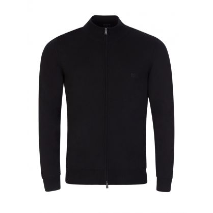 Black Balonso Zip-Through Knitted Jumper
