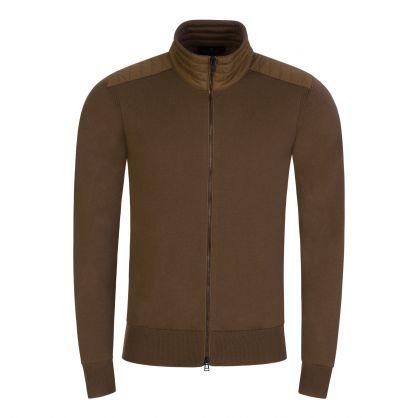Brown Merino Wool Kelby Zip-Through Cardigan
