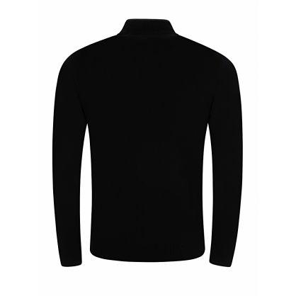 Black Baffle Knit Zip-Through Jacket