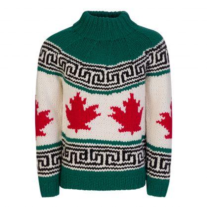 Green/White/Red Wool-Blend Maple Leaf Knit Jumper