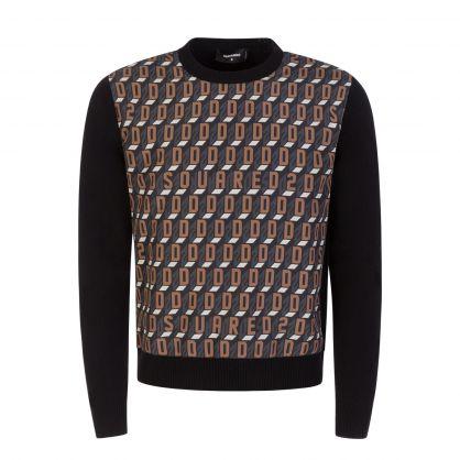 Black/Brown Knitted Monogram Jumper