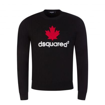 Black Mini D2 Leaf Knitted Jumper