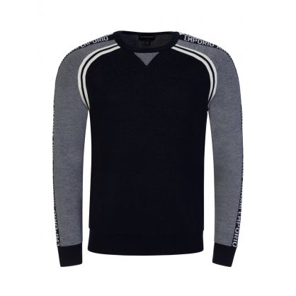 Navy Tape Arm Logo Knit Jumper