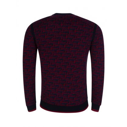 Navy Multi-Logo Knitted Jumper