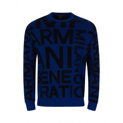 Blue Big Letter Multi-Knit Jumper