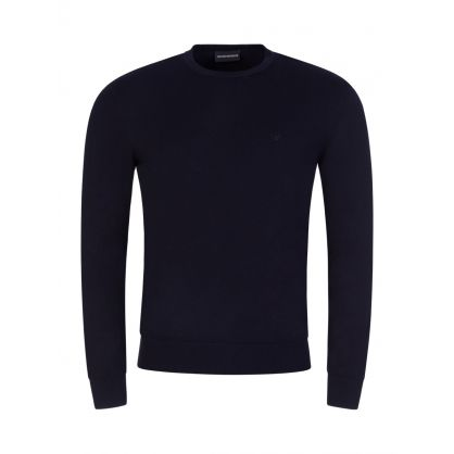 Navy Knitted Crew Neck Jumper