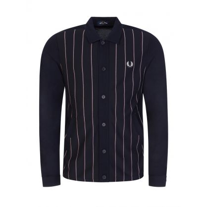 Navy Striped Knitted Panel Track Jacket